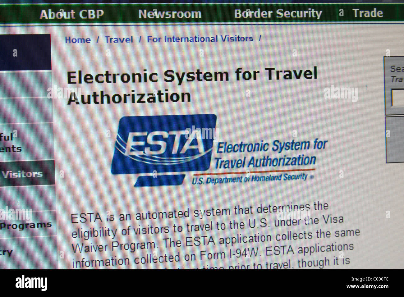 Screen shot of the Electronic System for Travel Authorisation (ESTA) for those applying for a visa to enter the - Stock Image