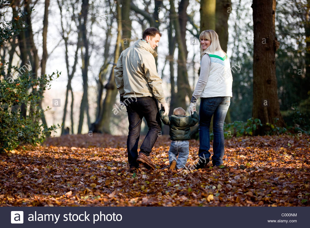 A young couple walking with their son in the park, rear view - Stock Image