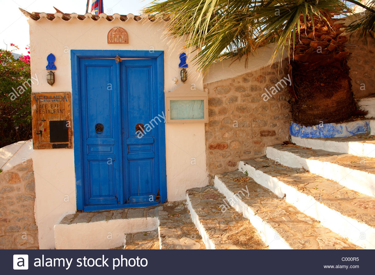 Veranda Restaurant entrance, Hydra, Greek Saronic Islands - Stock Image