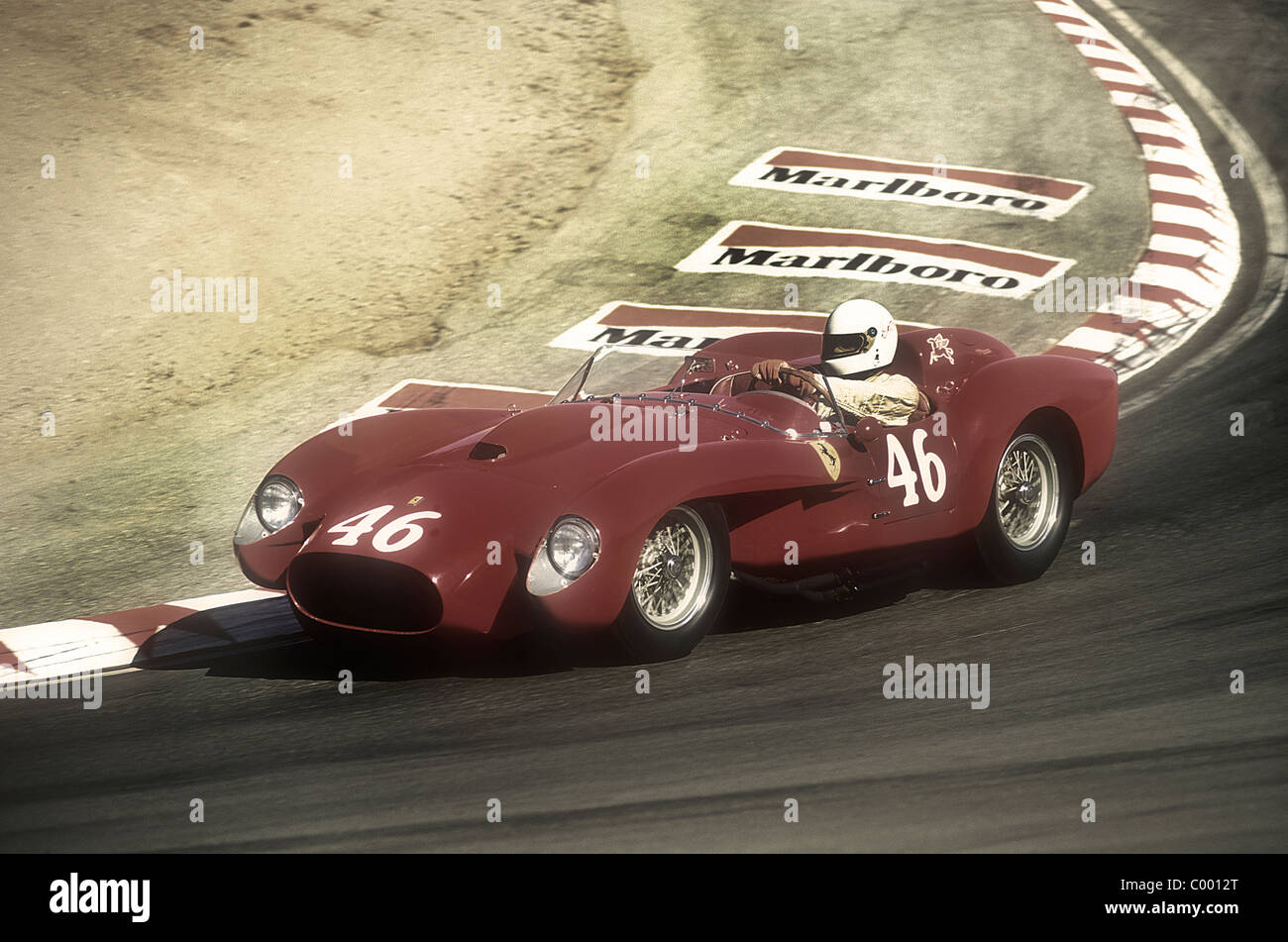 1950u0027s Ferrari 250 TR Racing Down The Corkscrew At Monterey Historic Races  Laguna Seca California 1990