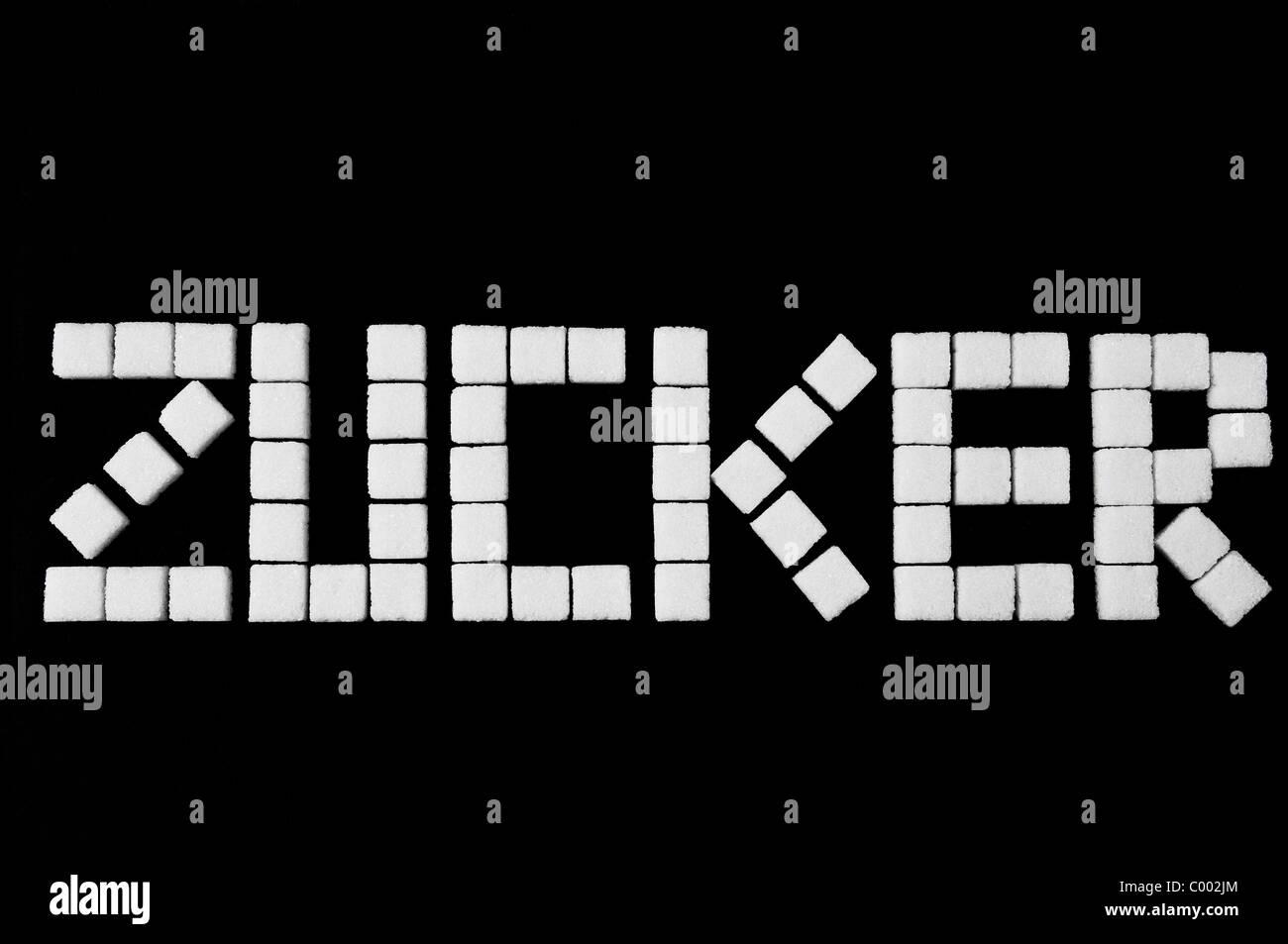 das Wort Zucker aus Wuerfelzucker zusammengesetzt, Word, Sugar, sugar cubes - Stock Image