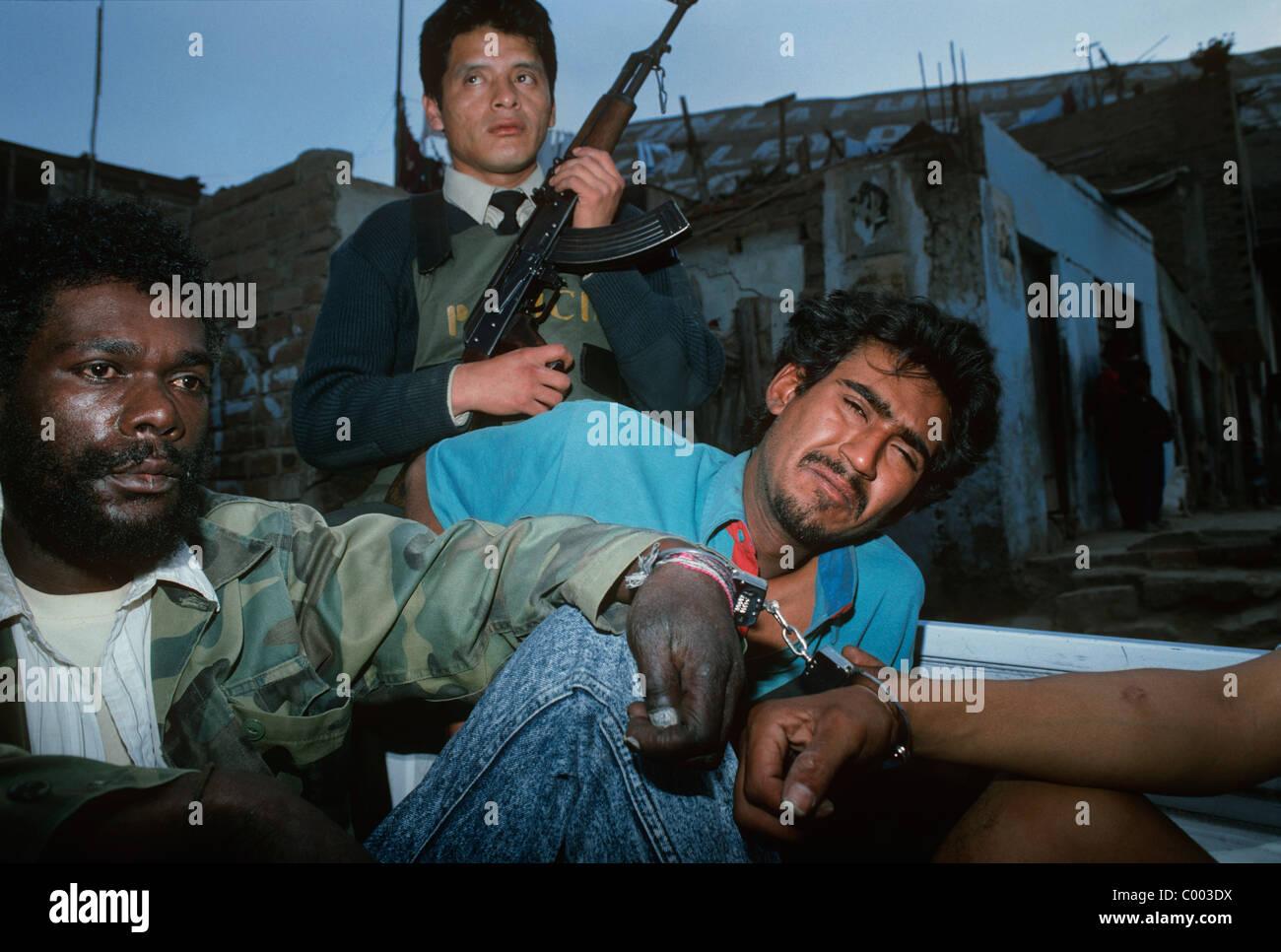 Drug dealers arrested in Shantytown. Lima - Peru - Stock Image