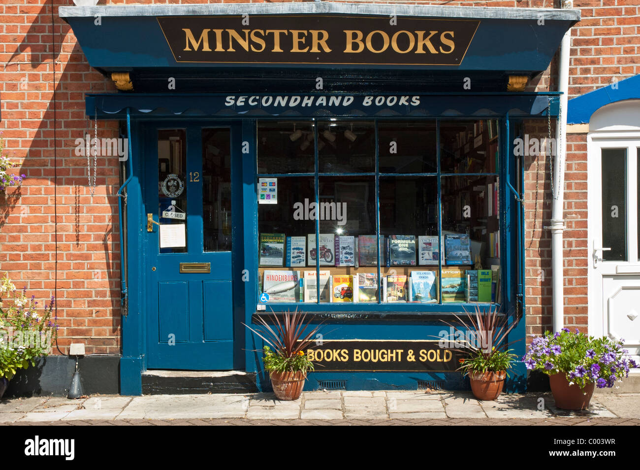 Secondhand Book Shop in Wimborne Minster town centre Dorset UK - Stock Image