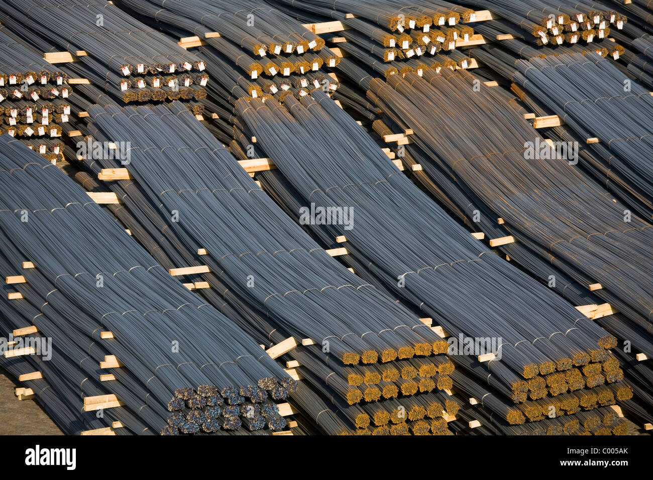 Steel rods in Leixoes Port, Porto, Portugal, Europe Stock Photo