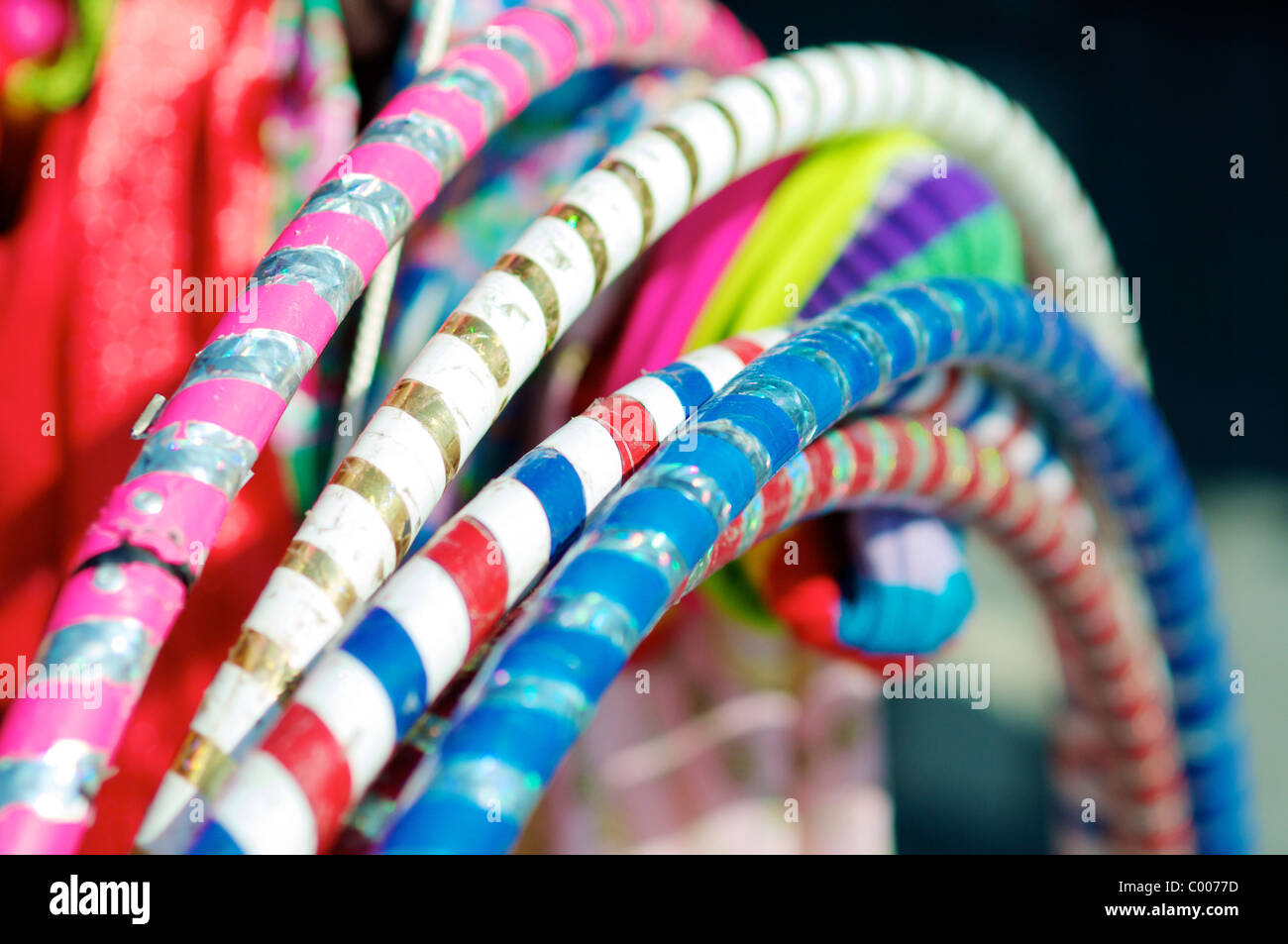 Hula hoop rings on a market during a cultural festival in Almere (The Netherlands). - Stock Image