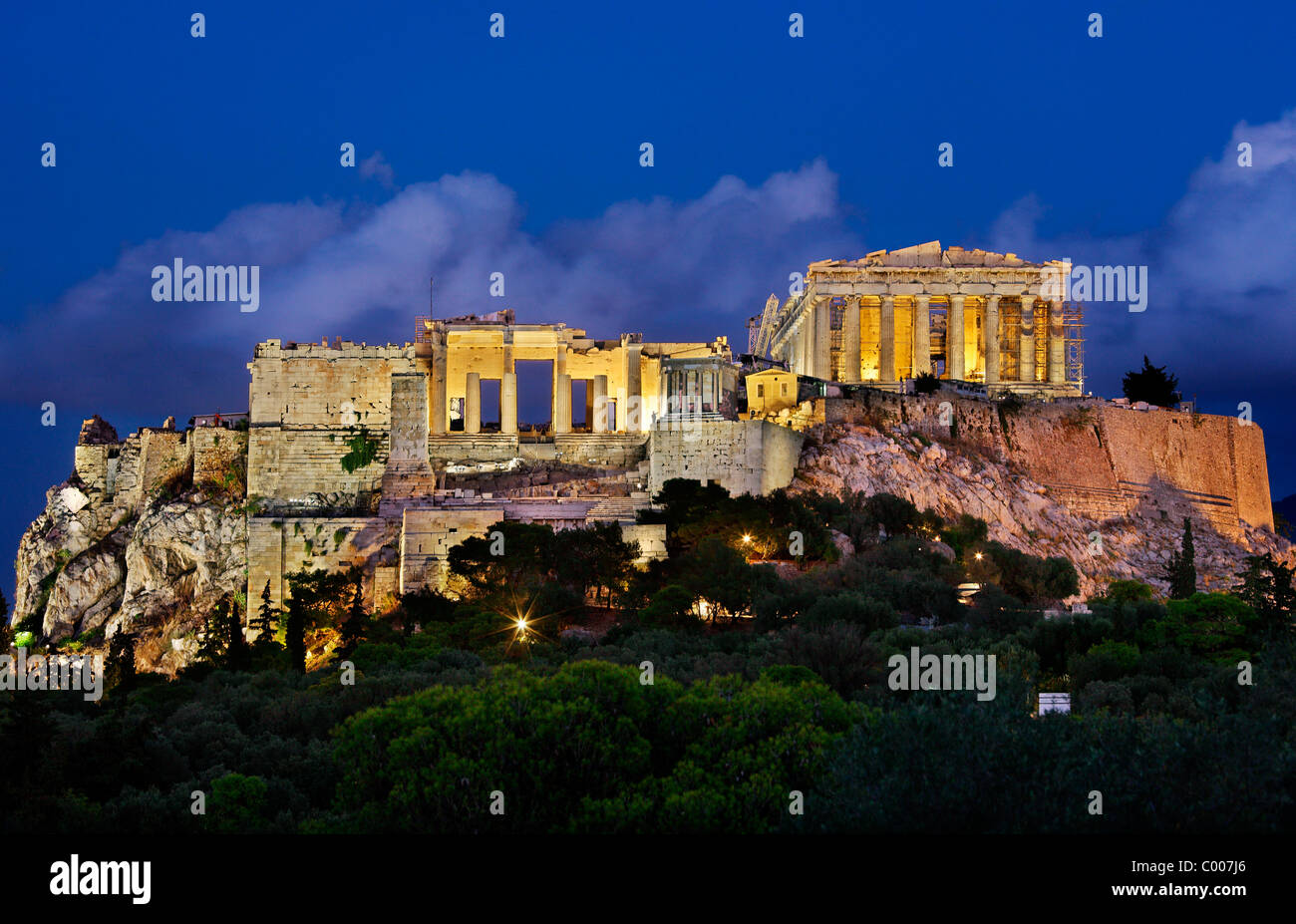 "The Parthenon and the Propylaea on the Acropolis of Athens, in the ""blue"" hour. Greece Stock Photo"