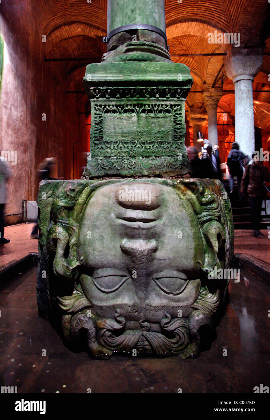 Turkey, Istanbul, the Basilica Cistern, a head of Medusa, turned upside down in one of the hundreds columns. - Stock Image