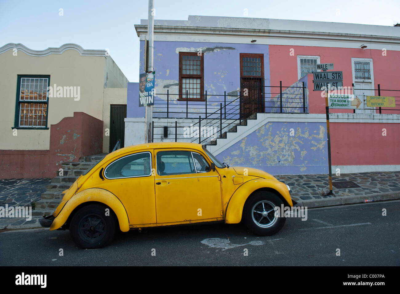 VW beetle parked in Bo Kaap Cape Town South Africa - Stock Image