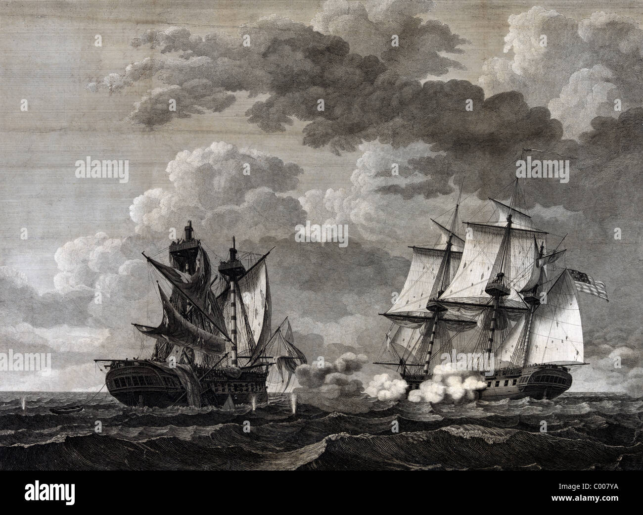 Capture of H.B.M. Frigate Macedonian, Capt. J.S. Carden by the U.S. frigate United States, Stephen Decatur, Esqr., - Stock Image