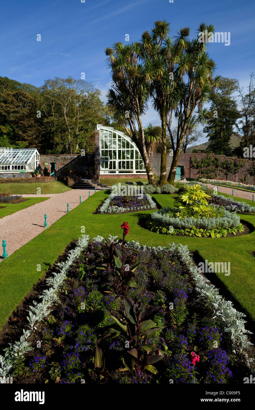 Glasshouse in the restored 19th Century Victorian Walled Garden, Kylemore Abbey, Connemara, County Galway, Ireland. - Stock Image