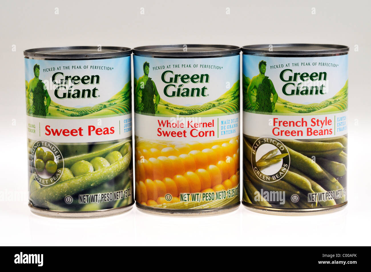 Selection of assorted cans of Green Giant Vegetables on white background, cut out. - Stock Image
