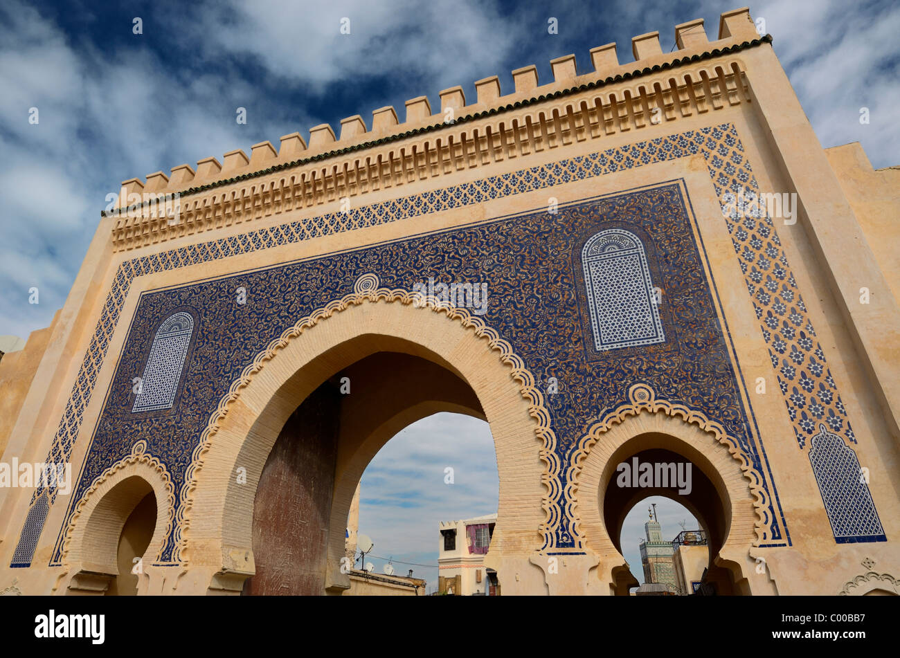 Bab Boujeloud in Fes Morocco medina known as the Blue Gate - Stock Image