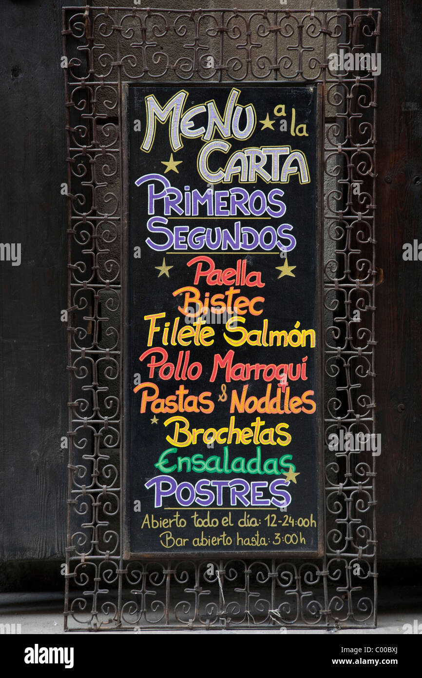 Colorful Spanish Menu with List of Foods - Stock Image