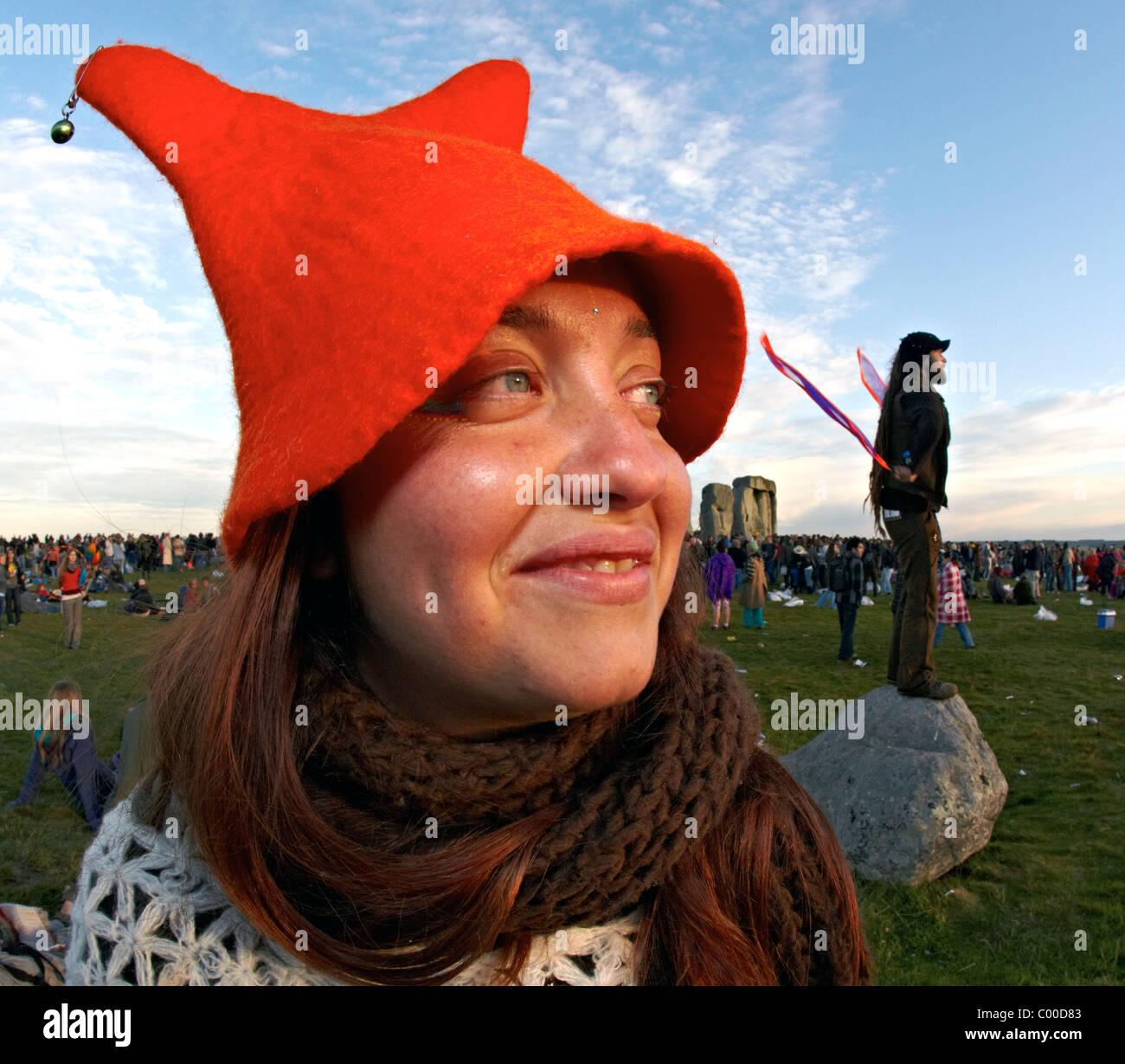 Festival Goer At The Summer Solstice Stonehenge UK Europe - Stock Image