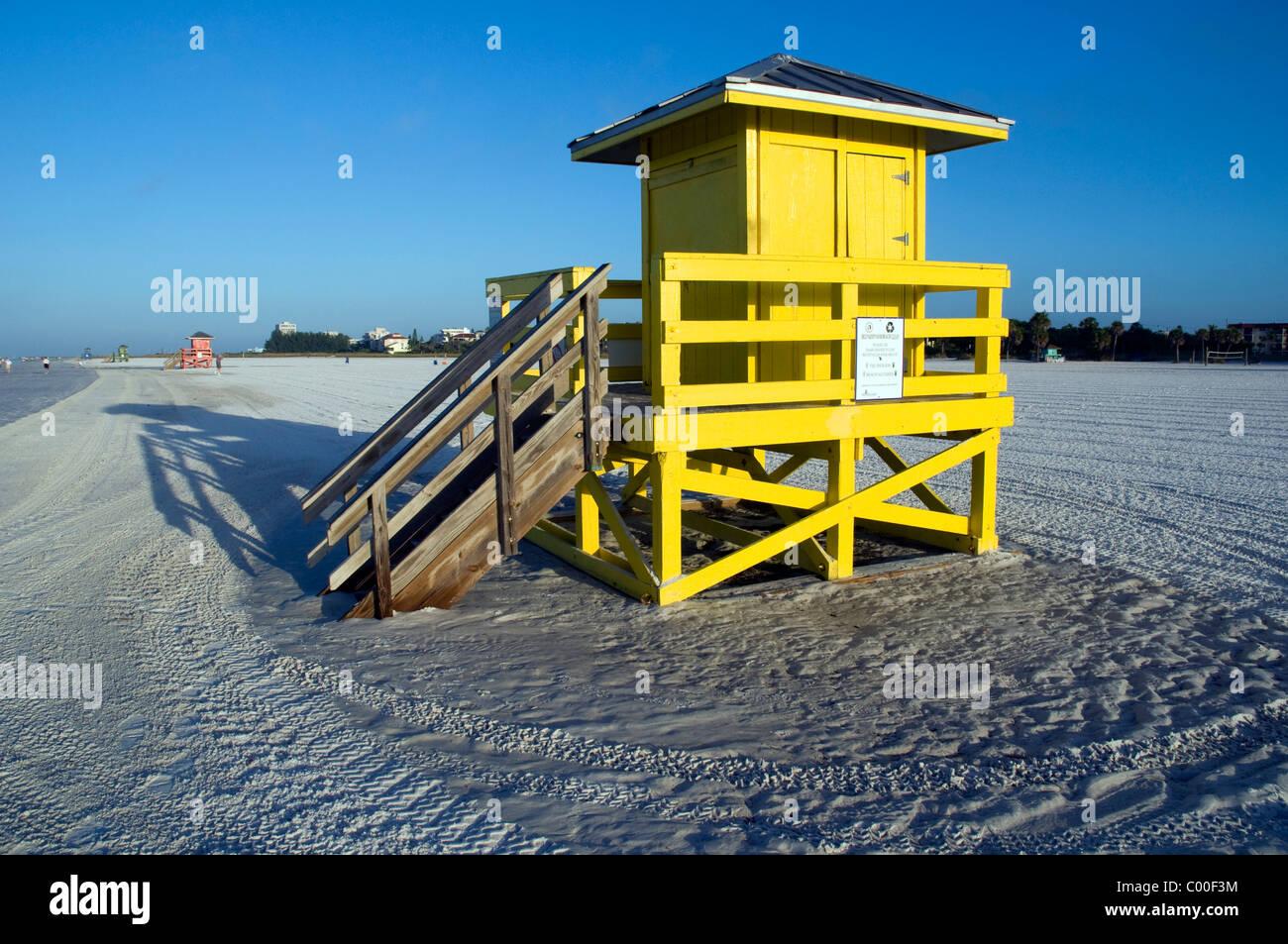 Lifeguard Hut Dawn Siesta Key Beach Florida Sarasota USA - Stock Image