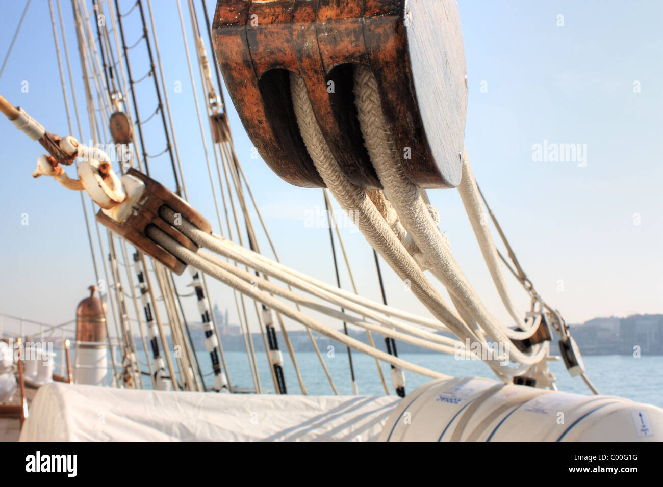 Detail of a sailing ship - Stock Image