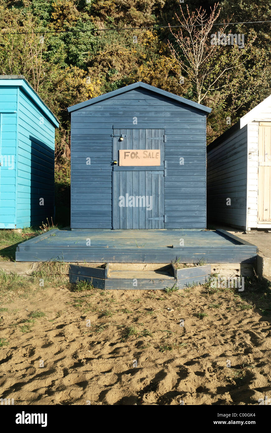 Beach Hut For Sale Shanklin Isle Of Wight England Uk Stock Photo