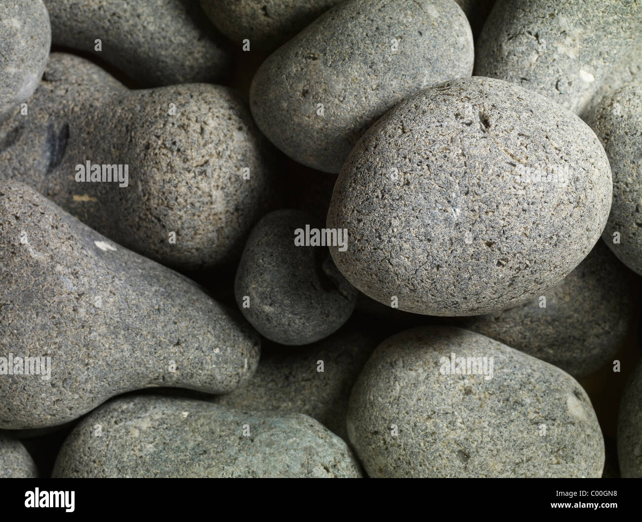 granite pebbles round smooth - Stock Image