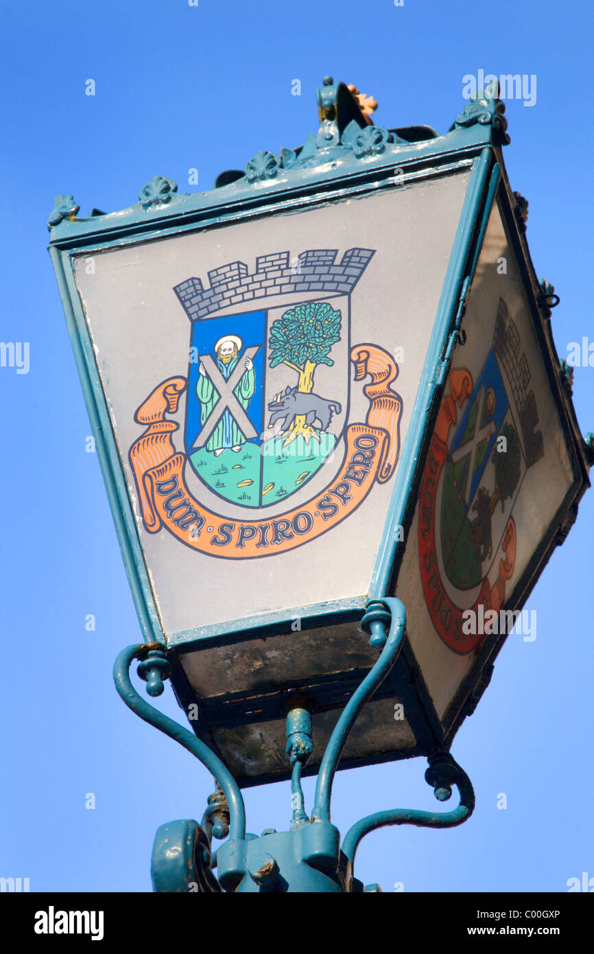 Lamp with Coat of Arms at The Town Hall St Andrews Fife Scotland - Stock Image