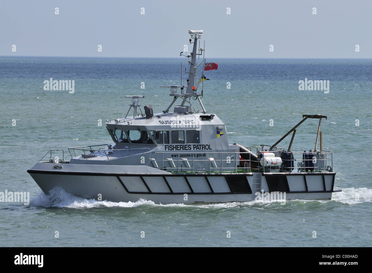 Fisheries Patrol Vessel Entering port Sea Stock Photo