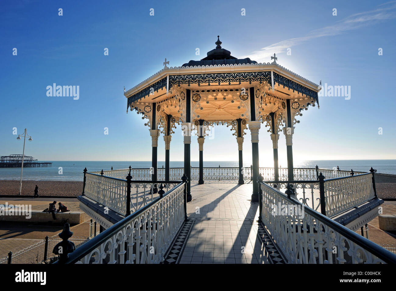 The recently restored Victorian bandstand on Brighton seafront - Stock Image