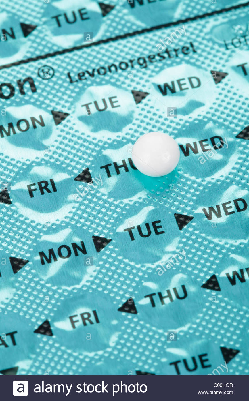 Norgeston pill on blister pack. - Stock Image