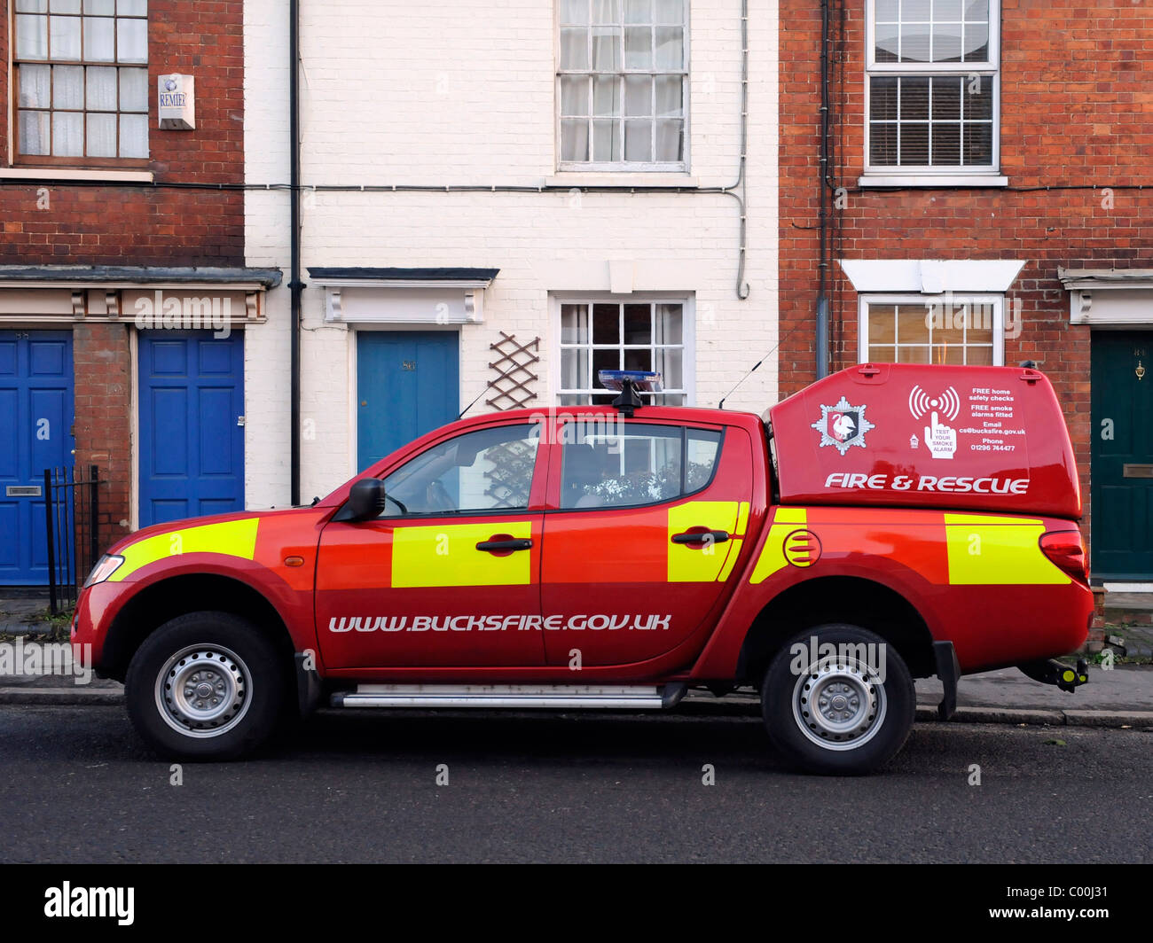 A fire safety vehicle promoting fire safety check. - Stock Image