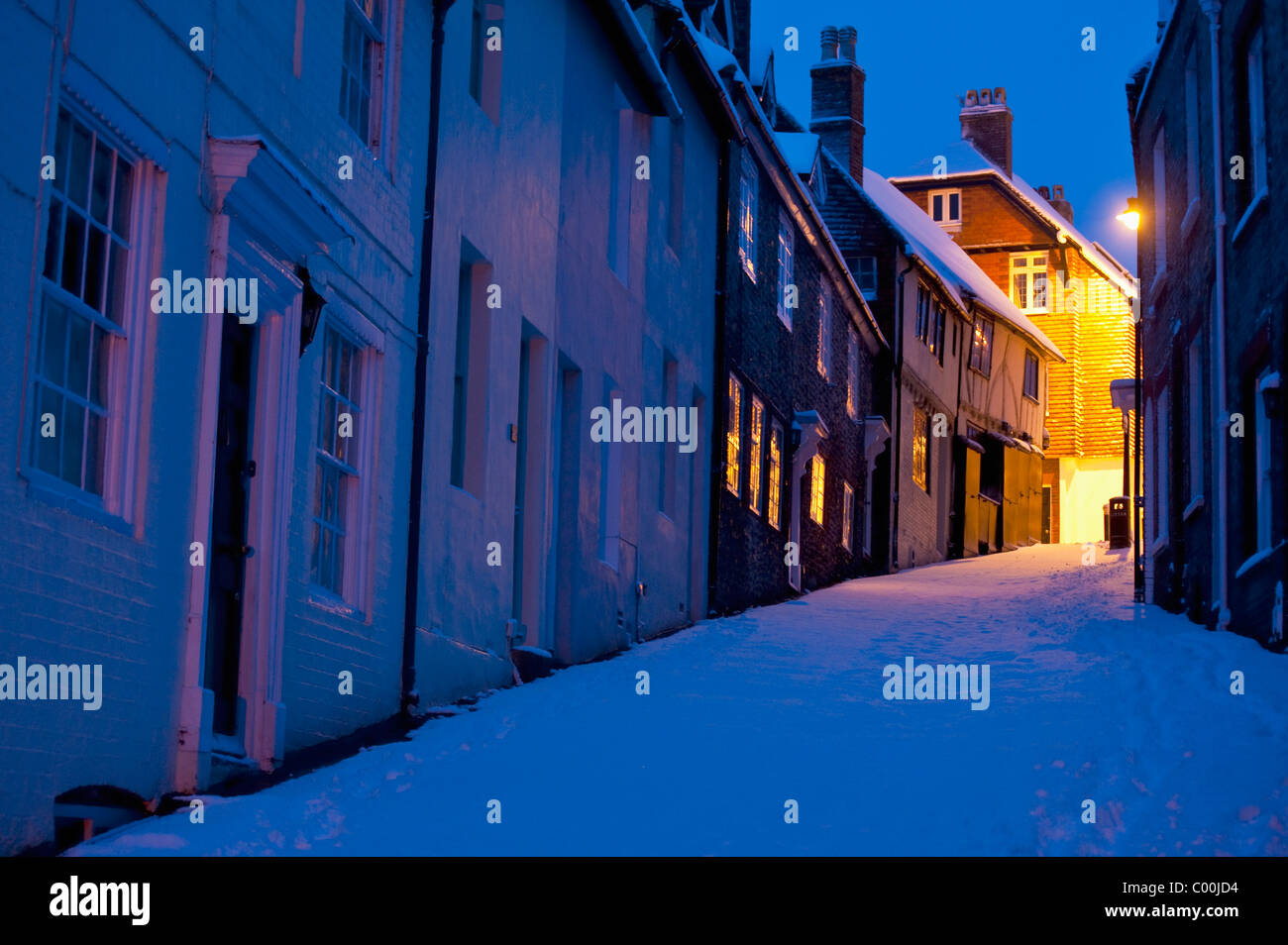 Keere Street in winter before dawn Stock Photo