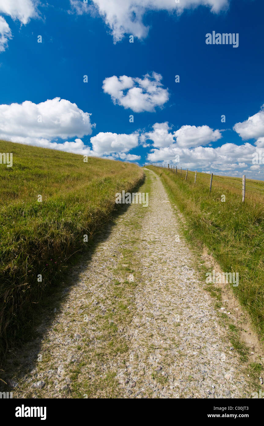 Track through South Downs between Lewes and Brighton Stock Photo