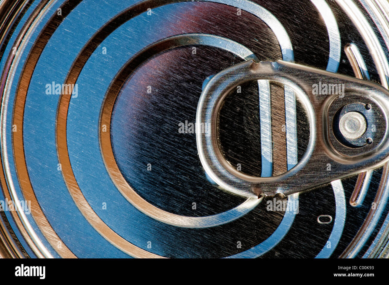 Tin Can Ring pull abstract - Stock Image