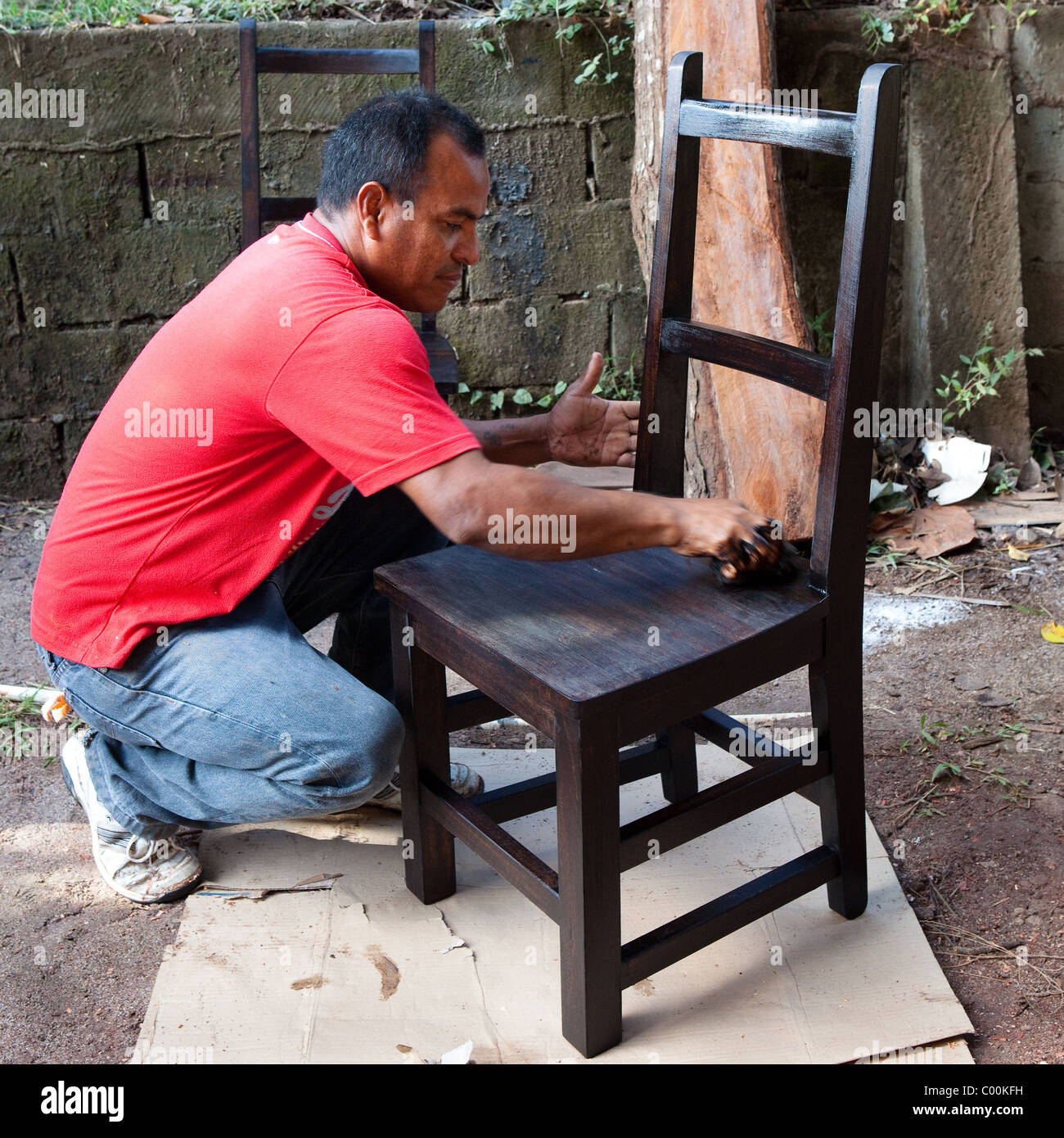 Furniture maker creating handmade chair in Penonome, Cocle province, Republic of Panama. - Stock Image