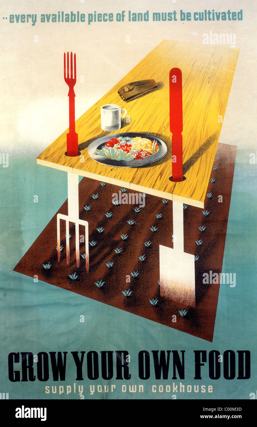GROW YOUR OWN FOOD poster 1942 - Stock Image