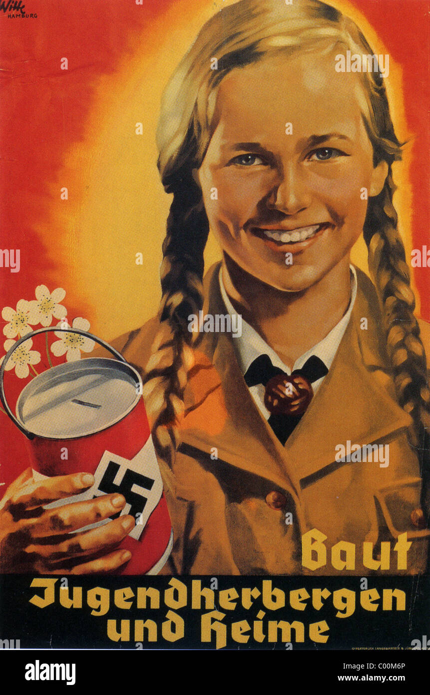 NAZI POSTER 1938 'Build Youth Hostels and Homes' - Stock Image