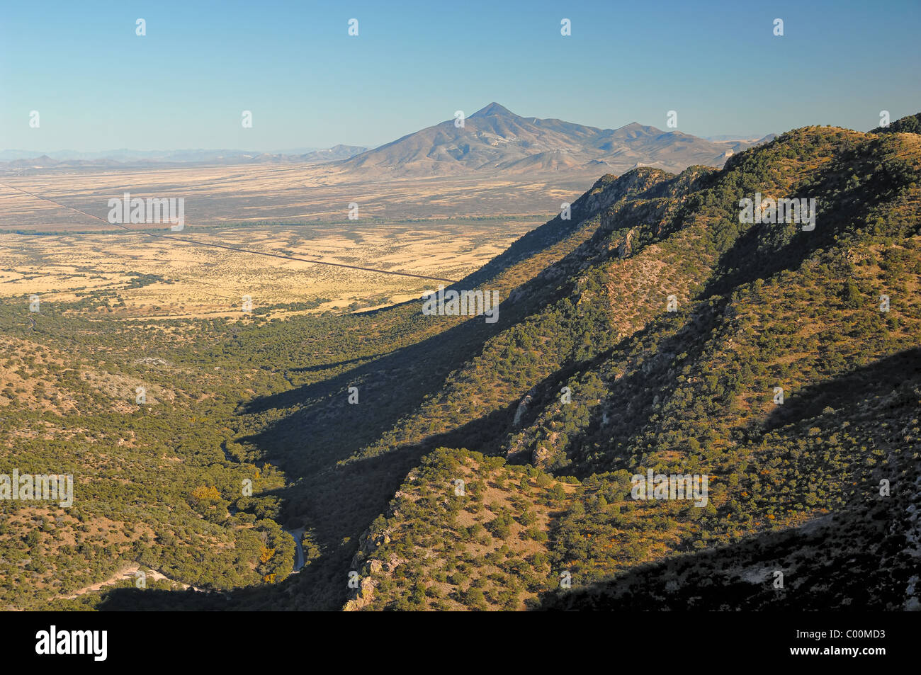 View from the top (elevation 6575 ft) of Montezuma Pass looking back at  Coronado  National Monument, Arizona, USA. - Stock Image
