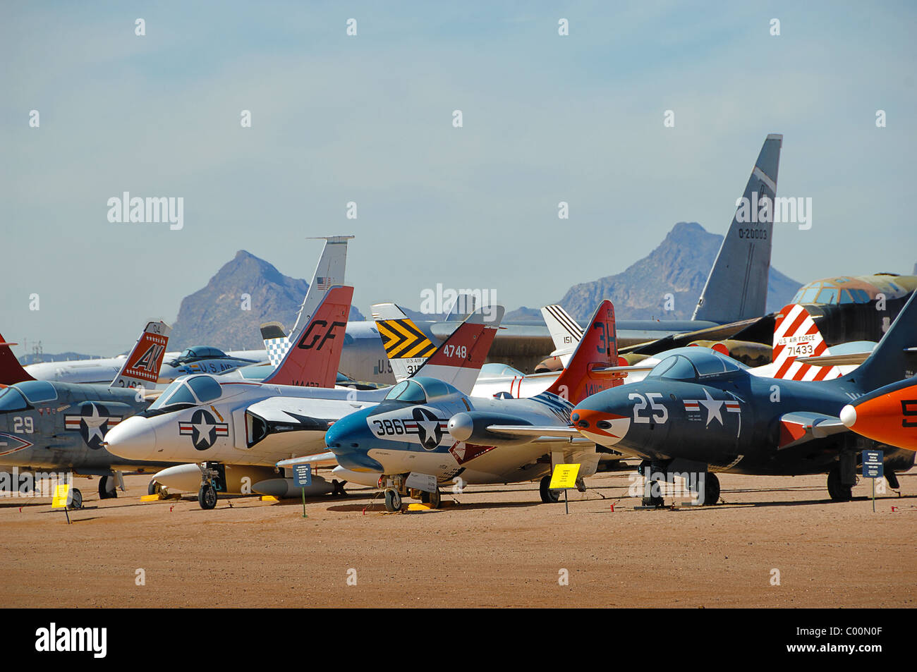 Miscellaneous selection of fighter aircraft at Pima Air and Space Museum, near Tucson, Arizona, USA - Stock Image