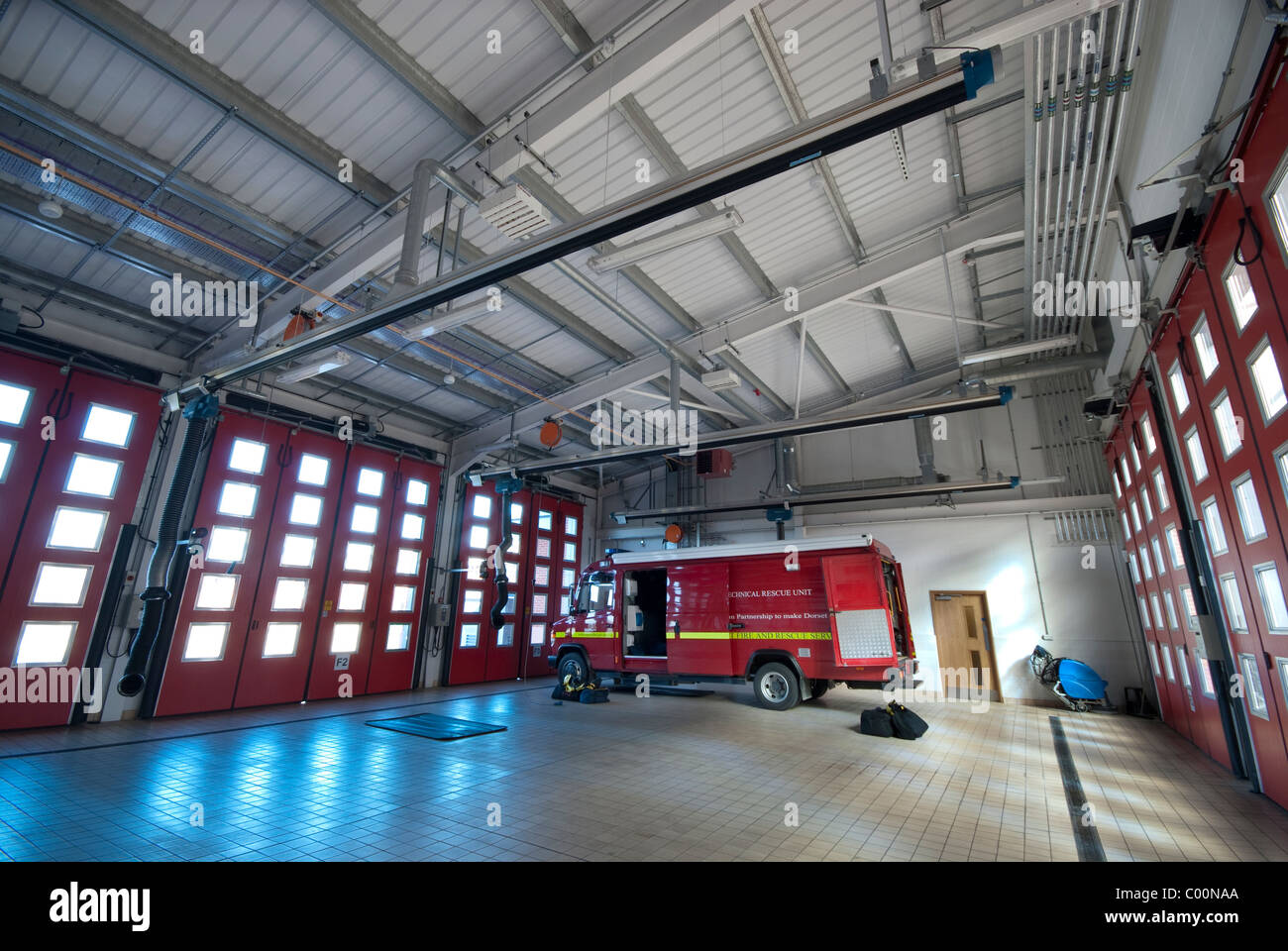Marshes End Fire Station, Dorset Fire and Rescue Service, Poole fire engine garage - Stock Image