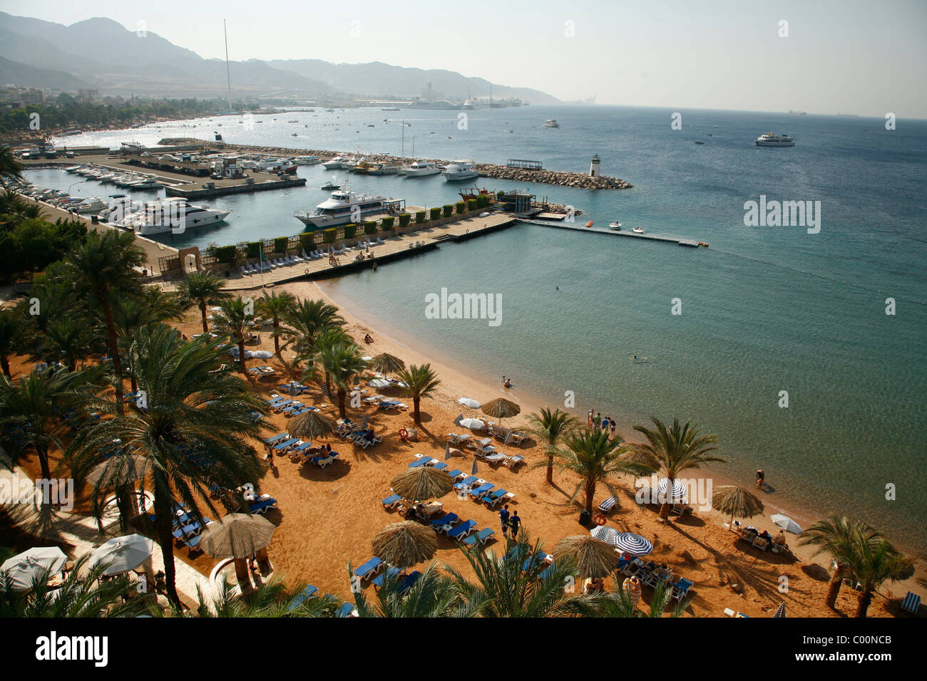 View overthe Beaches of Aqaba, Jordan. - Stock Image