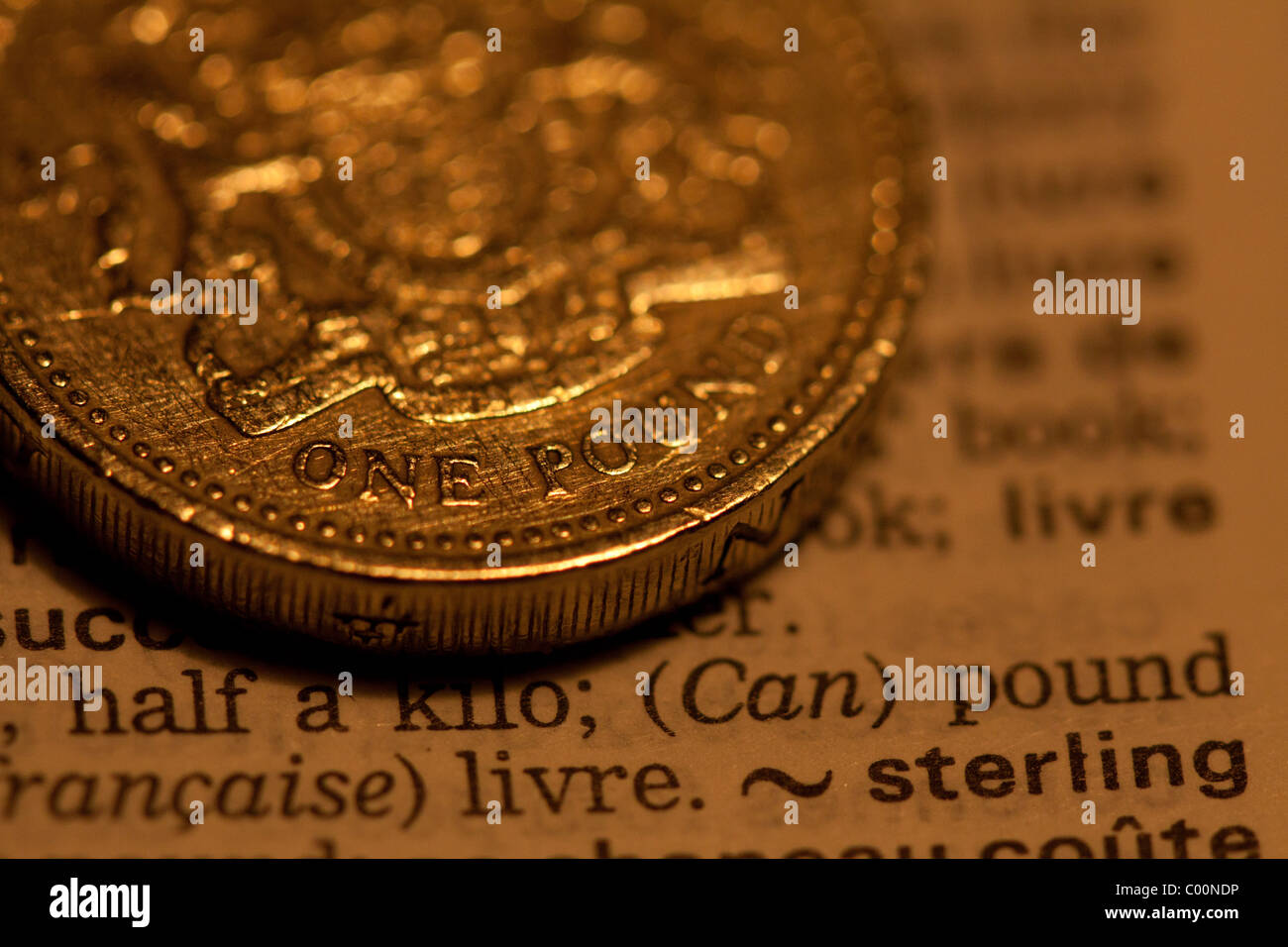 a pound on a dictionary - Stock Image