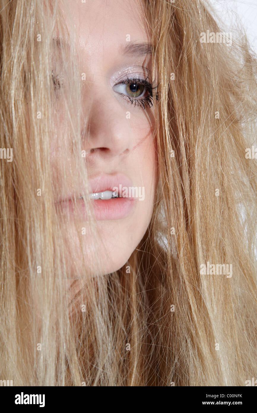 beautiful melancholic blonde - Stock Image