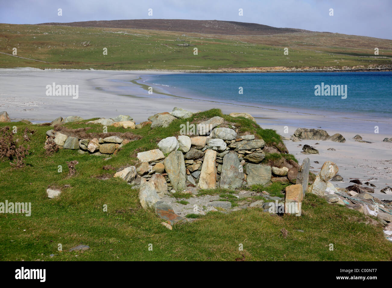 Hearth abutting the Norse longhouse excavated at Easting, Sandwick Bay, Unst, Shetland - Stock Image