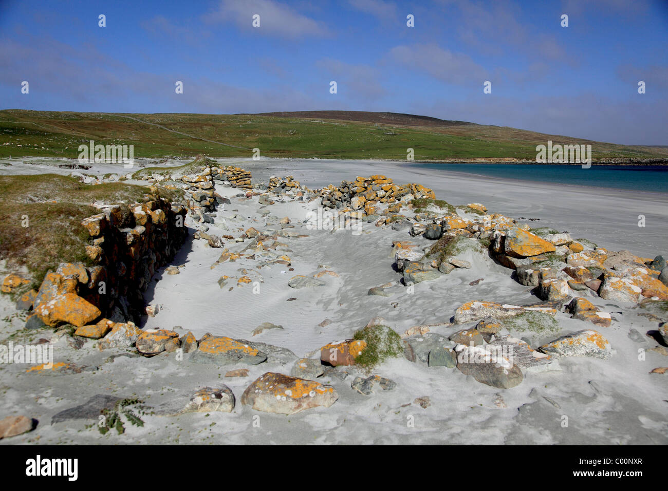 Norse, Viking longhouse excavated at Easting, Sandwick Bay, Unst, Shetland - Stock Image