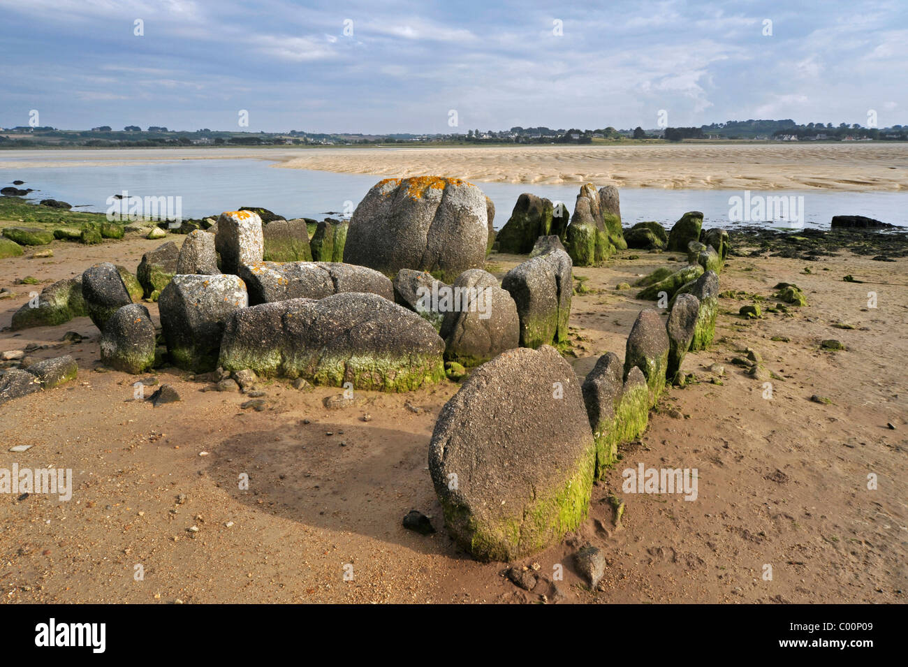 Neolithic tomb / gallery grave / passage grave of Guinirvit, Bay of Kernic, Finistère, Brittany, France Stock Photo