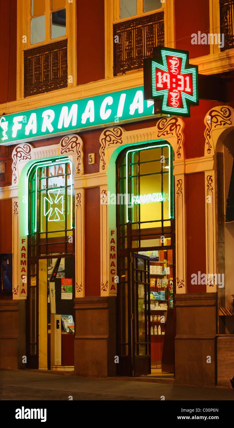 Chemist (farmacia) in Spain Stock Photo