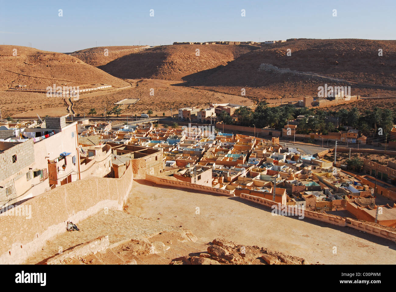 Lovely Algeria, Elevated View Of Ancient Houses In The Village   Stock Image