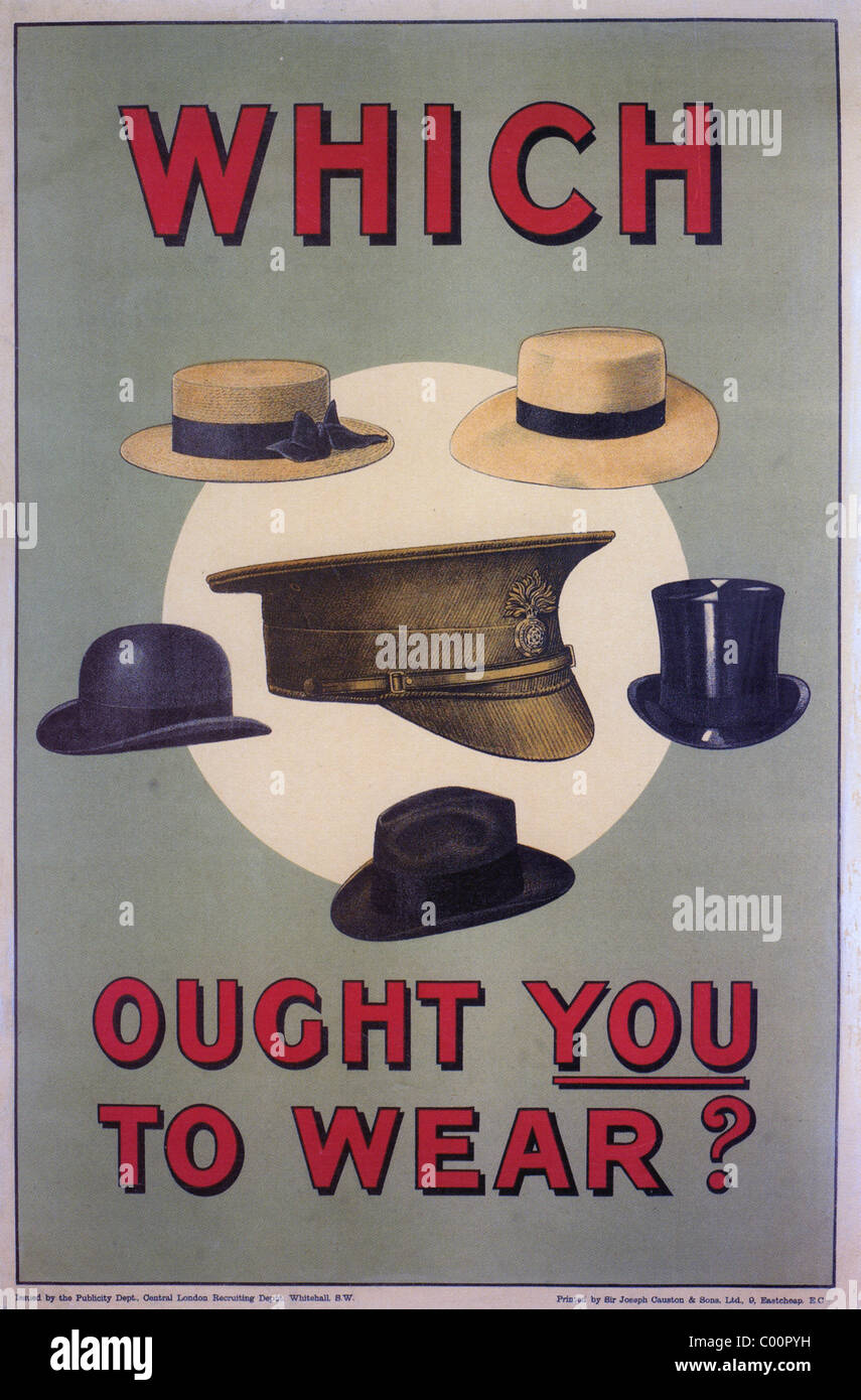 WHICH OUGHT YOU TO WEAR ? - 1914 British recruiting poster - Stock Image