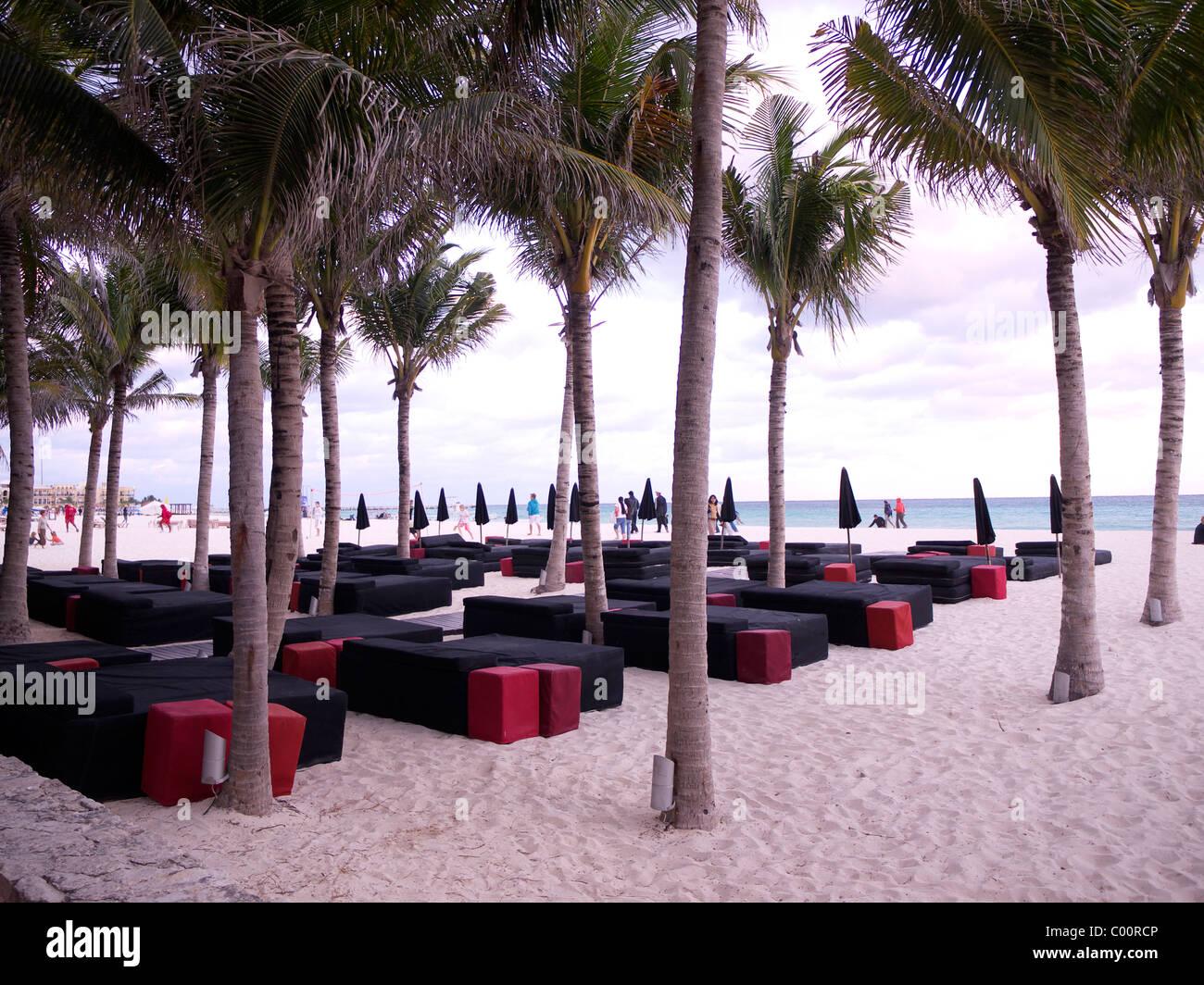 lounge bar at Playa del Carmen,Mexico - Stock Image