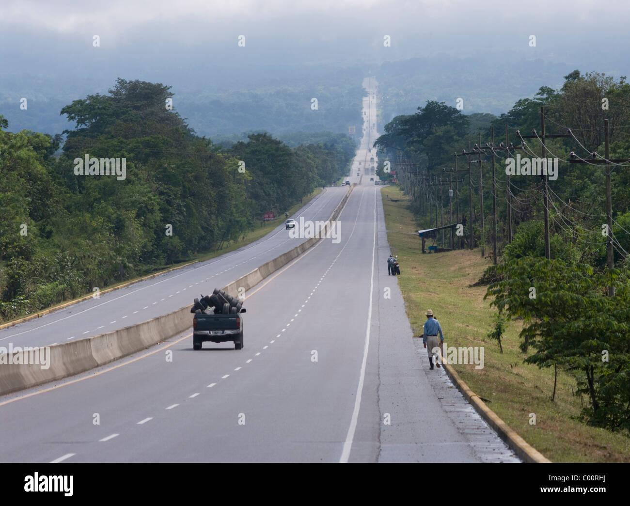 Honduras.Departament of Comayagua. Main paved road. - Stock Image