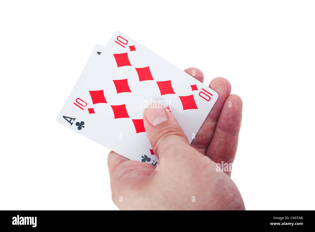 hand holding two playing cards isolated on white background Stock Photo