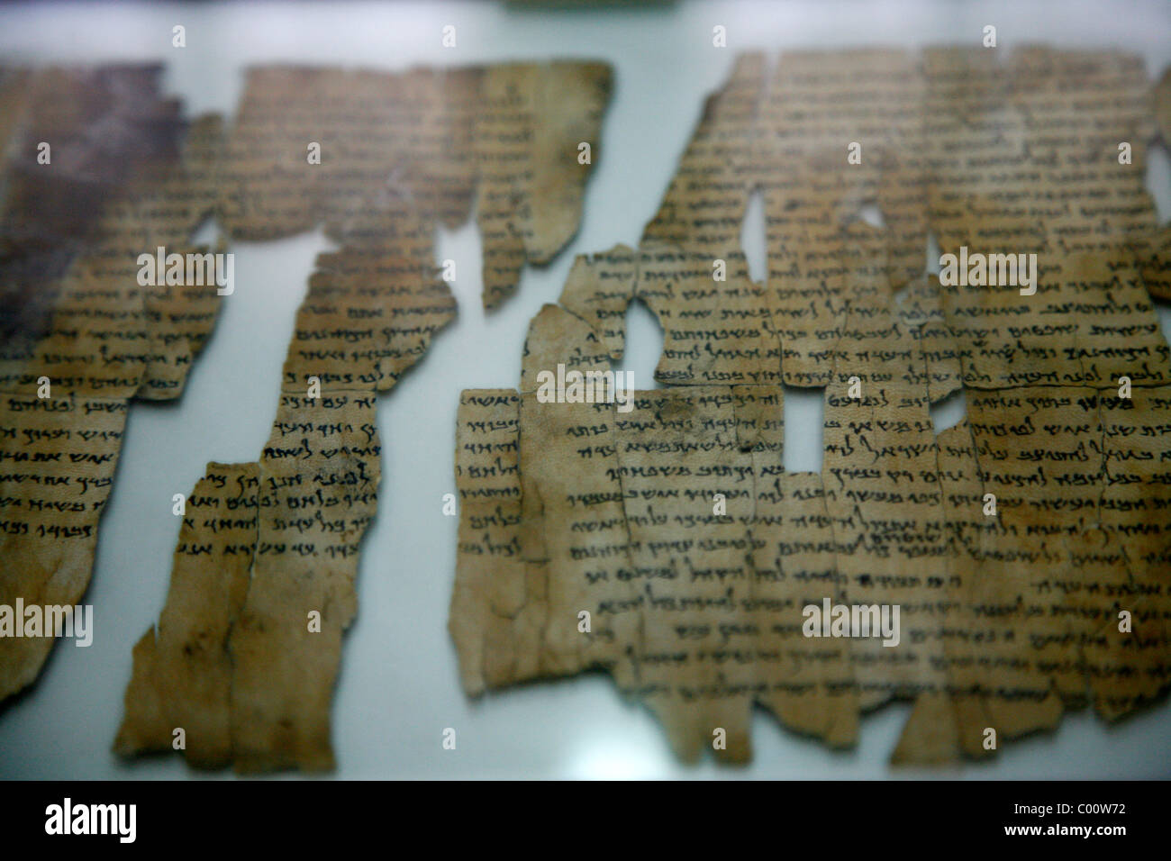 The Dead Sea Scrolls at the National Archeological Museum in the Citadel, Amman, Jordan. - Stock Image
