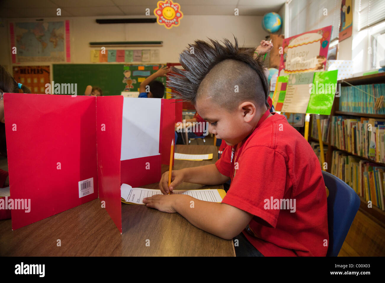 Spelling Test in First Grade Classroom - Stock Image